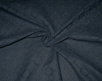 Midnight Navy Blue Allover Geometric Design Embroidered Eyelet Fabric--One Yard