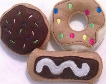 Felt play food - pretend food - play kitchen food - Set of 3 donuts felt Play food , Pretend Felt Food  Perfect for play kitchens #PF2538