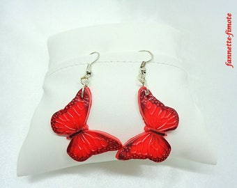Polymer clay Fimo Butterfly red and black earrings - handmade