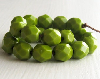 25 Opaque Olive 6mm Fire Polished - Czech Glass Beads