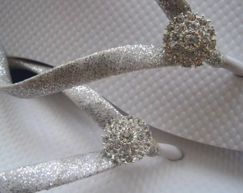 Gillian Silver Bridal Flip Flops, Custom Flip Flops, Rhinestone Flip Flops, Dancing Shoes, Bridal Sandals, Bling Beach Wedding Bridal Shoes