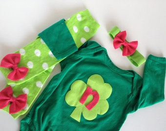 St. Patrick's Day Shamrock Initial PInk Green One Piece With Bow Baby Leg Warmers and Headband