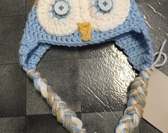 6 Month Size Blue Owl Hat Crocheted