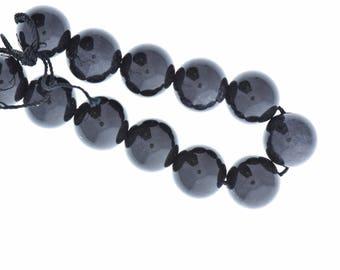 Black dyed jade beads , round , 14mm , 09148.91