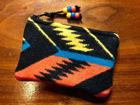 Wool Coin Purse / Phone Cord / Gift Card Holder / Zippered Pouch Black Arrowpath