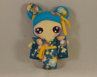 Doll / Kawaii / Japan / Kimono / Flowers / Turquoise /