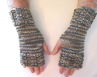 Hand Knit Fingerless Mittens/Texting Gloves - Stillness:brown/taupe/tan/beige; Wrist Warmers- One Size