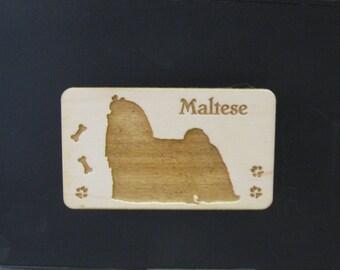 Original Design Maltese Wood Magnet