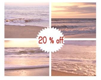 Pink beach photography shabby chic beach decor, ocean seascape wall art, sunset coastal picture set of 4 prints, yellow peach bedroom decor