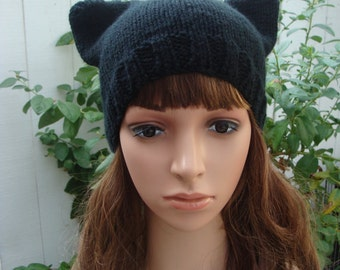 DIY - Knitting PATTERN #63: Black Cat Knit Hat/Beanie, perfect for all those cat lovers out there or for Halloween - PDF Digital Pattern