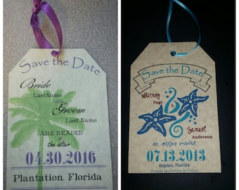 Beach Themed Save-the-Date Luggage Tag