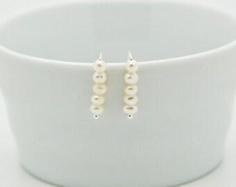 Pearl Ear Crawler Earrings, Freshwater Pearl Ear Climber Earrings For Birthday Gift, Sterling Silver Ear Pins, Minimalist Earring Crawler