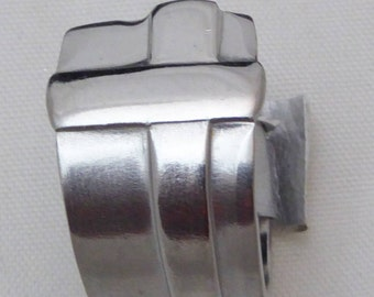Spoon ring, Cross pattern, stainless steel, size 7