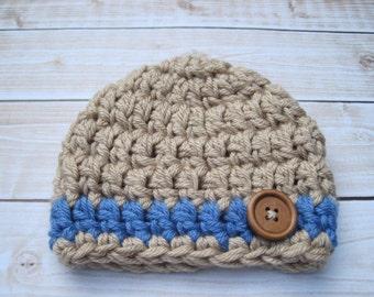 Baby Boy Hat, Newborn Boy Hat, Boy Infant Hat, Winter Hat Baby, Crochet Newborn Hat, Baby Beanie, Boy Beanie, Newborn Boy Beanie, Tan