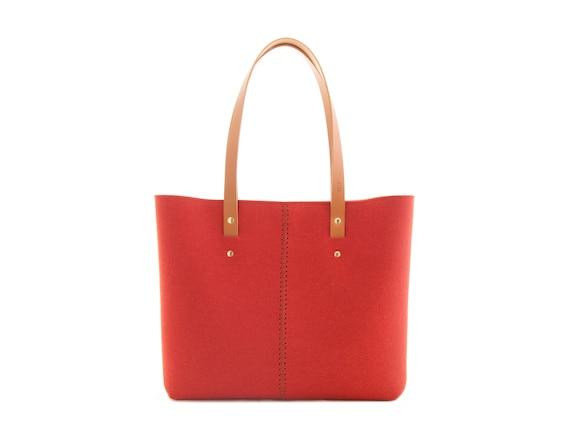 Wool Felt TOTE BAG / orange tote bag / womens bag / felt shoulder bag / carry all bag / made in Italy