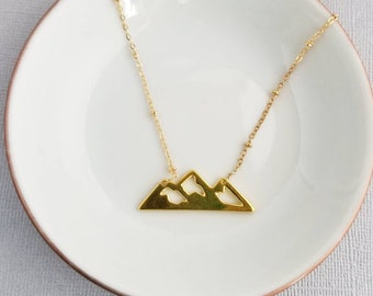 MountainsGold Necklace, Gold necklace, necklace, adventure necklace, Pendant Necklace, pendant, mountain necklace