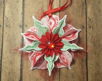 Holiday ornament/ Christmas origami flower ornament /hanging decoration