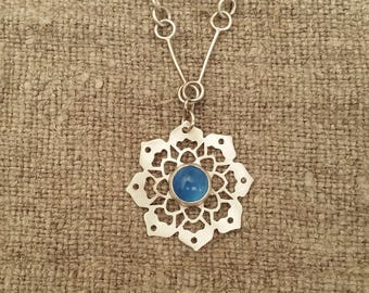 Sterling Silver Mandala necklace with blue agate