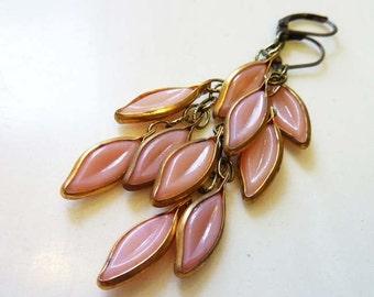 Cascading Leaves Earrings, Dusty Rose Pink Leaf Earrings, Rare Vintage Glass & Brass, Gold, Boho, Mid-Century, Bridal