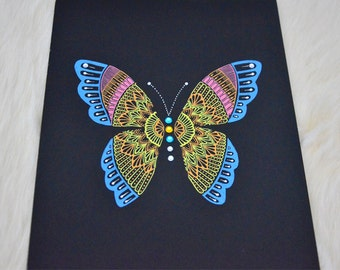The Butterfly Collection (original) - Angelic, handmade butterfly mandala with rhinestones, perfect gift, unique art