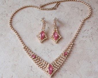 Rhinestone Necklace Earring Set Pink Clear Choker V Bib Gold Tone Vintage 030416FT