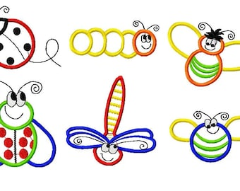 6 Designs, Bug Applique Machine Embroidery Design Pack, PES Format