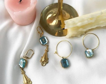Vintage Gold Cross Hoop Pendant Hoop & Pendant Drop Earrings (Red/Blue)