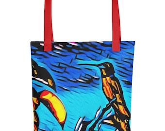 "Hummingbird on Blue Art Design 15""x15"" Tote bag Carryall Market Bag"