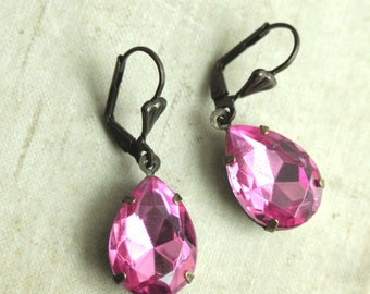 Rose Pink Rhinestone Jewel Earrings