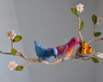 Children room decoration  needle felted mobile: Birds and nest in a branch with flowers