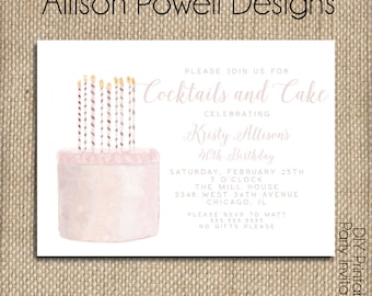 Cocktails and Cake 40th birthday invitation, Shower, bridal, Wedding