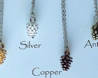 miniature pinecone necklace, mini pine cone necklace, copper pine cone necklace, gold pine cone necklace, silver pine cone necklace 4 colors