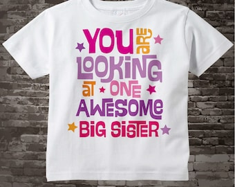 Girl's Awesome Big Sister Better Shirt Infant, Toddler or Youth Tee Shirt Pink and Orange Text t-shirt or Onesie 02222013b