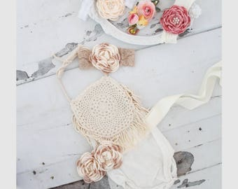Summer Boho Chic Ivory Cream Lace Romper & Headband.  Newborn Baby Girl Coming Home Outfit, 1st Birthday Outfit Mommy Me Linen like Matching