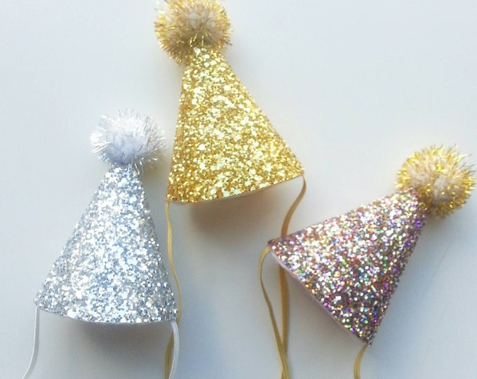 Mini Glittery First Birthday Party Hat   Ready to Ship