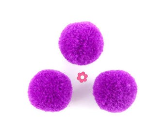 x 10 round tassel ball purple 20mm (257D)