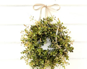 Mini Wreath-Spring Wreath-Farmhouse Wreath-Eucalyptus Wreath-Fixer Upper-Farmhouse Decor-Wreaths-Window Wreath-Small Wreath-Gift for Mom