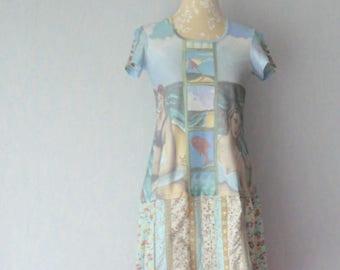 Colors Pastel, women size M - 40, recycled dress romantic Retro style dress shirt