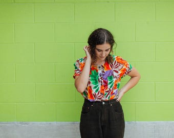 Colorful Leaf Patterned Blouse