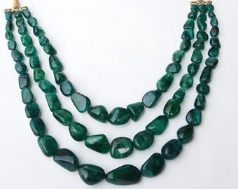 Natural Emerald Unique Necklace ~~~ Smooth Oval Beads ~~~ 1211 Carats ~~~ 3 Strands ~~~ Splendid Colour ~~~ Natural Gemstone ~~10 to 30 MM