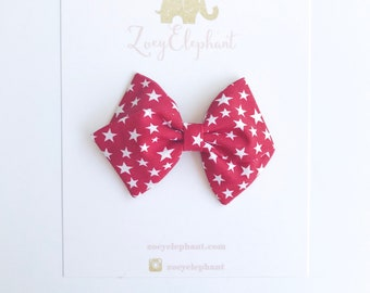 July 4th Bow, Star Bow, Red Bow, 4th of July Bow, Baby Bow Headband, Independence Day Bow, Toddler Hair Bows, Summer Accessories