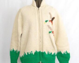 Vintage Cowichan Sweater • Mallard Ducks • Cardigan Sweater Zipper Front • Vintage Handmade