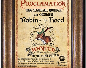 Robin Hood - Wanted Dead or Alive - Disney Vintage Style Print - Available in Multiple Sizes 5x7, 8x10, 11x14, 16x20, 18x24, 20x24, 24x36