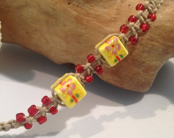 Touch Of the Orient Beaded Hemp Macrame Anklet