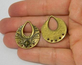 Antique Bronze Earring Chandelier Links, 2 pieaces, Earring Drops, 5 Hole links, Lead Free & Nickel Free, 25x23x3mm, Jewelry Supplies
