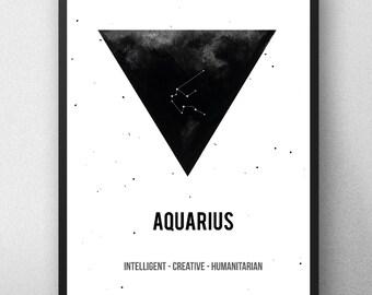 Printable artwork , Aquarius Zodiac Print, Printable astrology , Aquarius Zodiac Sign , Zodiac Art, Astrology Print , watercolor artwork