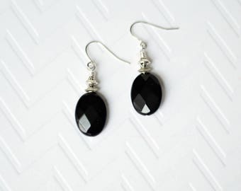 Black Onyx Earrings - Gift for her under 10 - Black Dangle earrings - Hypoallergenic earrings - Silver Black oval earrings - Boho earrings