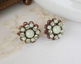 Pastel Green Crystal Earrings. Rhinestone Jewelry in Vintage Style. Pastel Color Crystal Studs. Spring Green Earrings. Pastel Green Jewelry