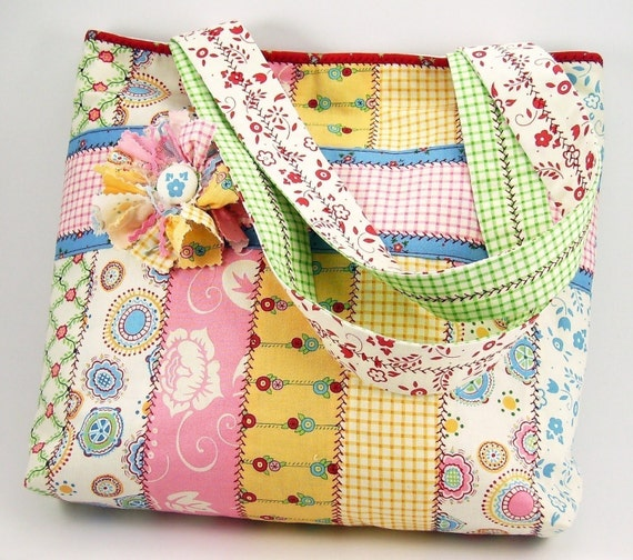 Huge Sale ... Jelly Roll Tote Bag Sewing Pattern with Fabric