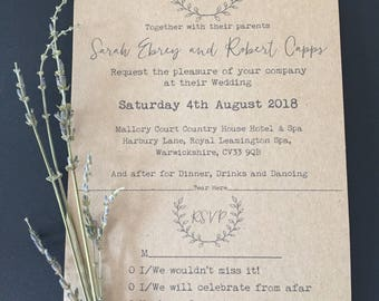 Eco Kraft, Rustic, Wedding Invitations, Kraft paper, Wedding Stationery, Fridge Magnet, Bespoke Orders Taken, Tear Off RSVP, Weddings,